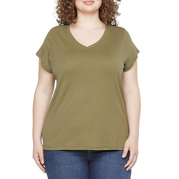 Liz Claiborne Short Sleeve V-Neck Tee - Plus
