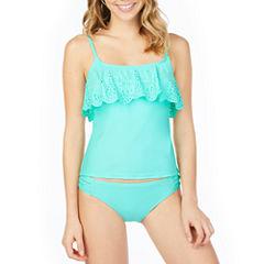 Arizona Lasercut Flounce Swimsuit Top-Juniors