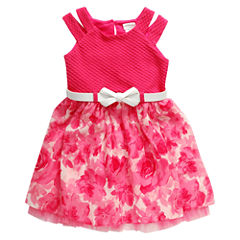 Young Land Short Sleeve Split Sleeve Skater Dress - Preschool Girls