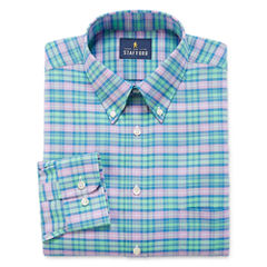 Stafford Travel Wrinkle-Free Oxford Long Sleeve Woven Plaid Dress Shirt