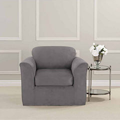 SURE FIT® Ultimate Heavyweight Stretch Suede Chair Slipcover