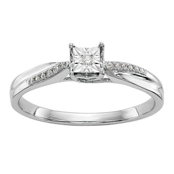 Promise My Love Womens Diamond Accent Genuine White Diamond 14K White Gold Round Ring
