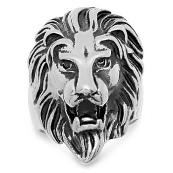 Steeltime Lion Mens Stainless Steel Fashion Ring