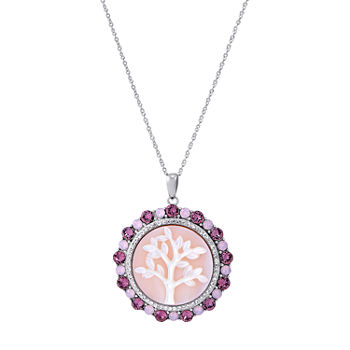 Womens Genuine Pink Mother Of Pearl Sterling Silver Round Pendant Necklace