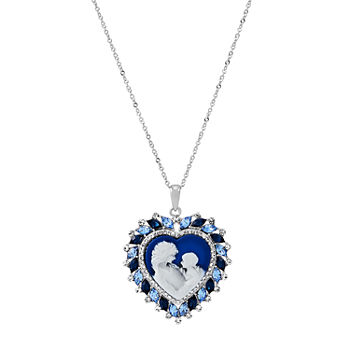 Womens Genuine Blue Mother Of Pearl Sterling Silver Heart Pendant Necklace