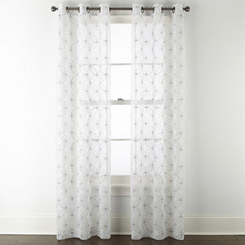 Regal Home Perth Geometric Embroidery Sheer Grommet-Top Set of 2 Curtain Panel