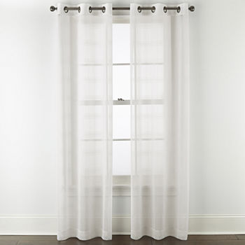Regal Home Windowpane Sheer Grommet-Top Set of 2 Curtain Panel