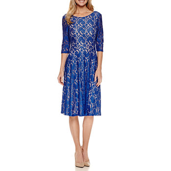 Signature By Sangria 34 Sleeve Lace Fit And Flare Dress