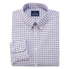 Stafford Travel Wrinkle-Free Oxford Long Sleeve Woven Grid Dress Shirt