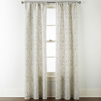 Home Expressions Tribal Diamond Light-Filtering Rod-Pocket Set of 2 Curtain Panel