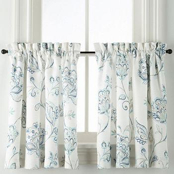 Liz Claiborne Quinn Jacobean Rod Pocket Window Tiers (Set of 2)