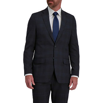 Haggar Signature Mens Plaid Stretch Regular Fit Suit Jacket