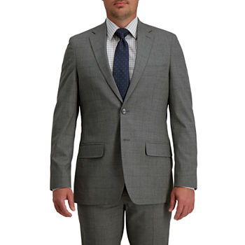Haggar Signature Mens Windowpane Stretch Regular Fit Suit Jacket