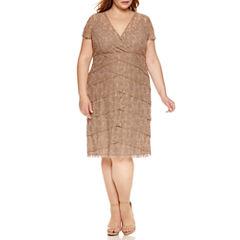 Scarlett Short Sleeve Tiered Lace Sheath Dress-Plus