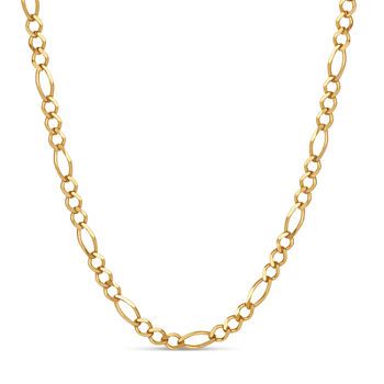 Made in Italy 18K Gold Over Silver 18 Inch Solid Figaro Chain Necklace
