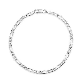 Made in Italy Sterling Silver 8 Inch Solid Figaro Chain Bracelet