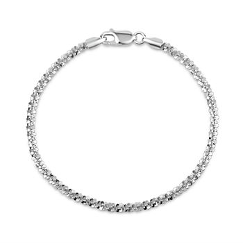 Made in Italy Sterling Silver 8 Inch Solid Link Chain Bracelet