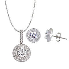 Womens 3-pc. 2 CT. T.W. White Cubic Zirconia Sterling Silver Jewelry Set