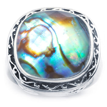 Sparkle Allure Abalone Pure Silver Over Brass Square Cocktail Ring