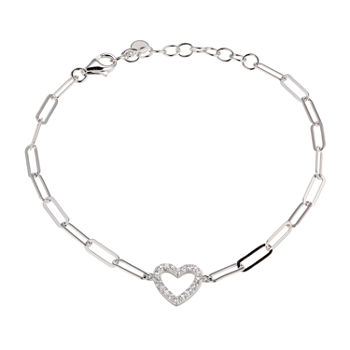 Paris 1901 By Charles Garnier Sterling Silver 6 3/4 Inch Solid Paperclip Heart Link Bracelet