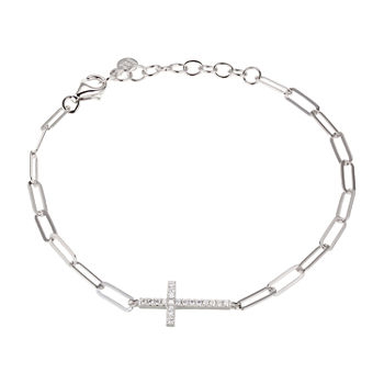 Paris 1901 By Charles Garnier Sterling Silver 7 Inch Solid Paperclip Cross Link Bracelet