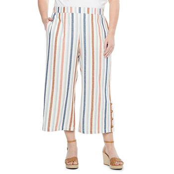 a.n.a-Plus Womens Mid Rise Wide Leg Crop
