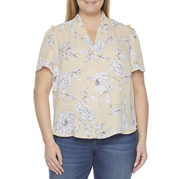 Liz Claiborne-Plus Womens V Neck Short Sleeve Blouse