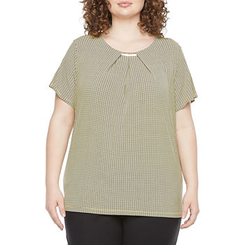 Liz Claiborne-Plus Womens Round Neck Short Sleeve Blouse