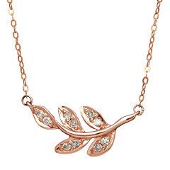 1/10 CT. T.W. Diamond 10K Rose Gold Leaf Necklace