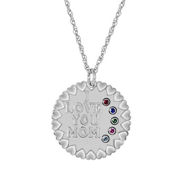 "Personalized ""I Love You Mom"" Birthstone CZ Pendant Necklace"