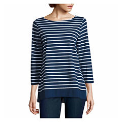 St. John's Bay 3/4 Sleeve Boat Neck Stripe T-Shirt-Womens Talls