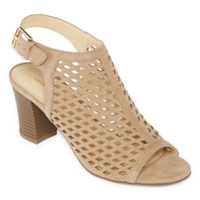 Beige nude taupe wedge high heel