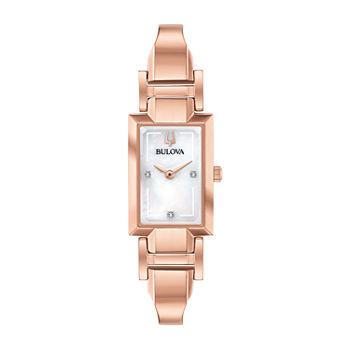 Bulova Classic Womens Diamond Accent Rose Goldtone Stainless Steel Bangle Watch-97p142