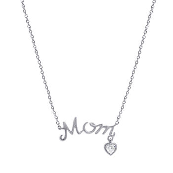 """Mom"" Womens 1/5 CT. T.W. White Cubic Zirconia Sterling Silver Pendant Necklace"