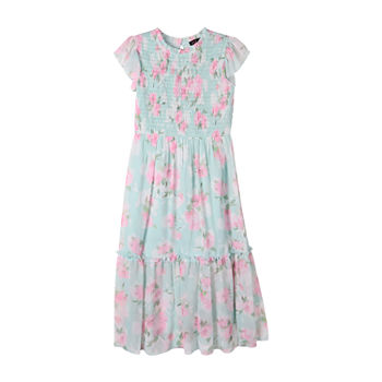Lilt Big Girls Short Sleeve Floral Maxi Dress