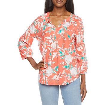 St. John's Bay-Tall Womens Split Tie Neck 3/4 Sleeve Blouse