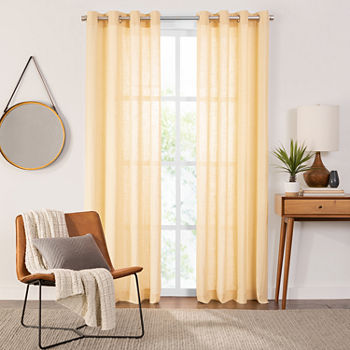 Fieldcrest Arden Solid Cotton Sheer Grommet-Top Single Curtain Panel