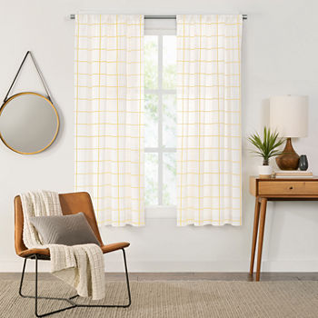 Fieldcrest Arden Windowpane Cotton Sheer Rod-Pocket Single Curtain Panel