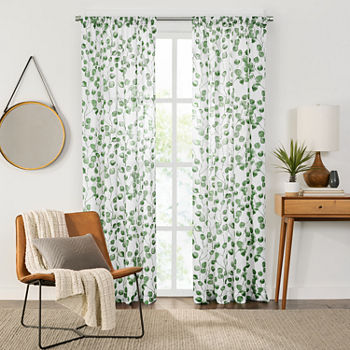 Fieldcrest Arden Botanical Leaf Cotton Sheer Rod-Pocket Single Curtain Panel