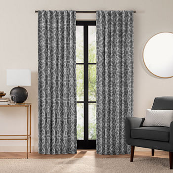 Fieldcrest Luxury Cotton Texture Jacquard Scroll Light-Filtering Back-Tab Single Curtain Panel