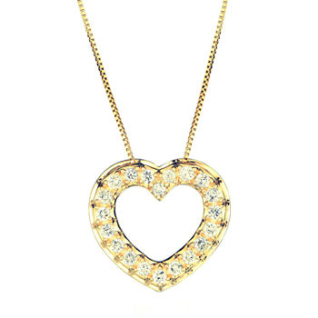 Igl Certified Womens 1/2 CT. T.W. Genuine Diamond 14K Gold Heart Pendant Necklace
