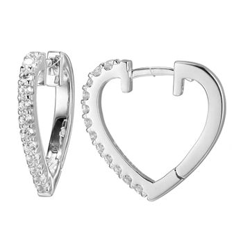 Paris 1901 By Charles Garnier White Cubic Zirconia Sterling Silver 16.6mm Heart Hoop Earrings