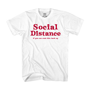 Social Distance Mens Crew Neck Short Sleeve Humor Graphic T-Shirt