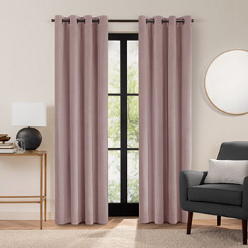 Fieldcrest Luxury Plush Washed Cotton Velvet Energy Saving 100% Blackout Grommet-Top Single Curtain Panel