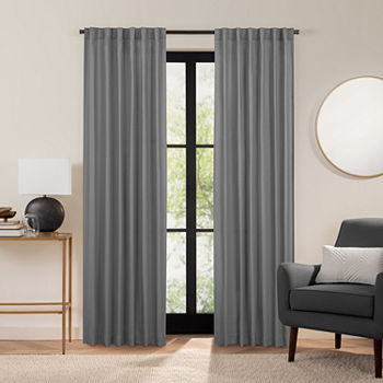 Fieldcrest Luxury Cotton Texture Energy Saving 100% Blackout Back-Tab Single Curtain Panel