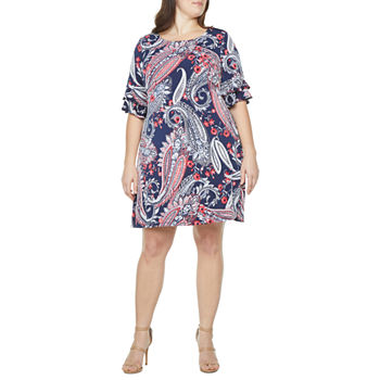 Ronni Nicole-Plus Short Ruffled Sleeve Paisley Puff Print Sheath Dress