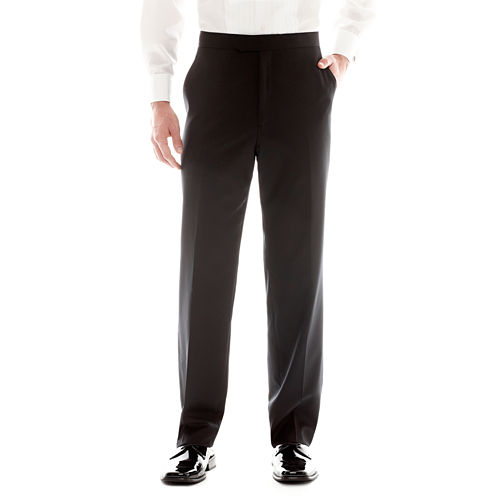 Stafford® Flat-Front Tuxedo Pants
