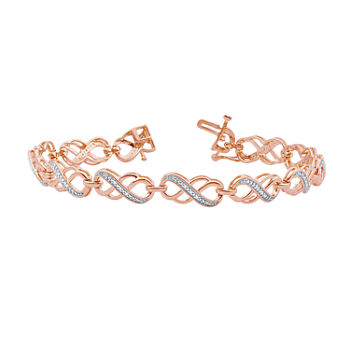 1/10 CT. T.W. Genuine Diamond 14K Rose Gold Over Silver Infinity 7.5 Inch Tennis Bracelet