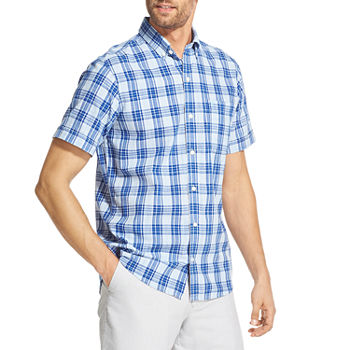 6618396657876d IZOD Chambray Woven Print Mens Short Sleeve Plaid Button-Front Shirt Big  and Tall