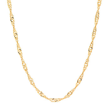 "Silver Reflections 24K Gold Over Brass 18-24"" Chain Necklace"